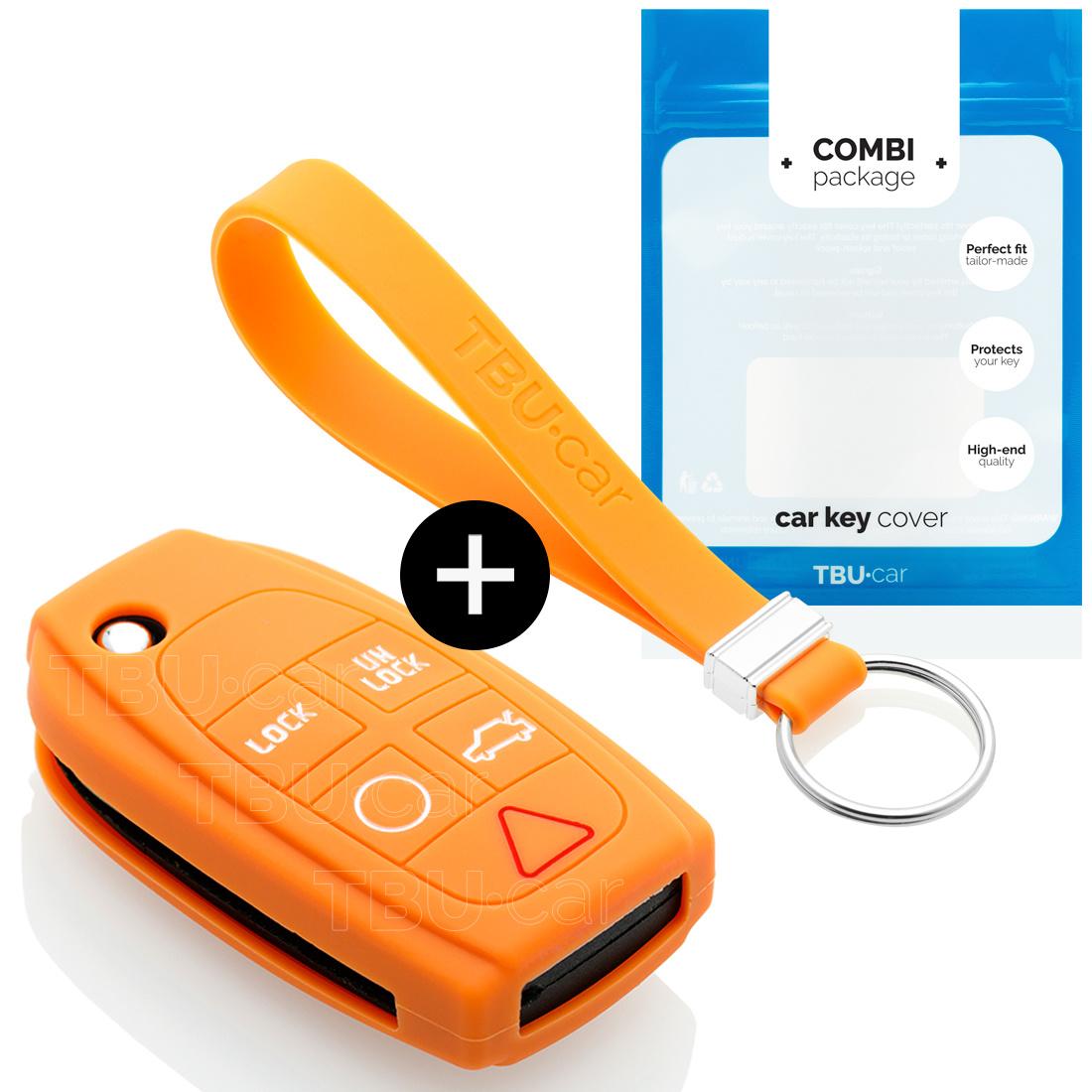 TBU car Autoschlüssel Hülle für Volvo 5 Tasten - Schutzhülle aus Silikon - Auto Schlüsselhülle Cover in Orange