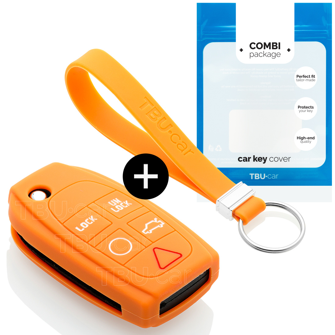 TBU car TBU car Autoschlüssel Hülle kompatibel mit Volvo 5 Tasten - Schutzhülle aus Silikon - Auto Schlüsselhülle Cover in Orange