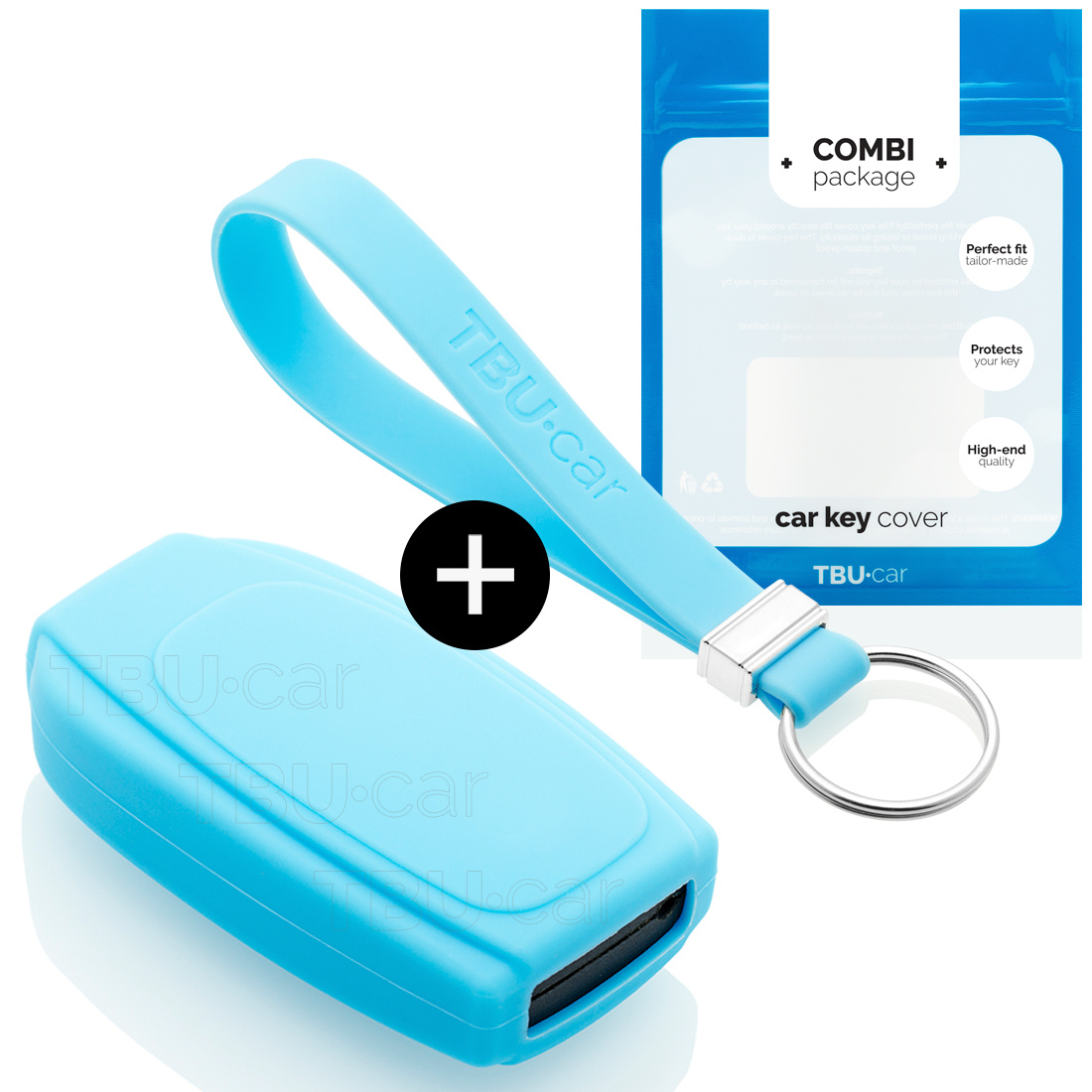 Volvo Car key cover - Silicone Protective Remote Key Shell - FOB Case Cover - Light blue