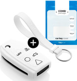 Volvo Car key cover - Silicone Protective Remote Key Shell - FOB Case Cover - White