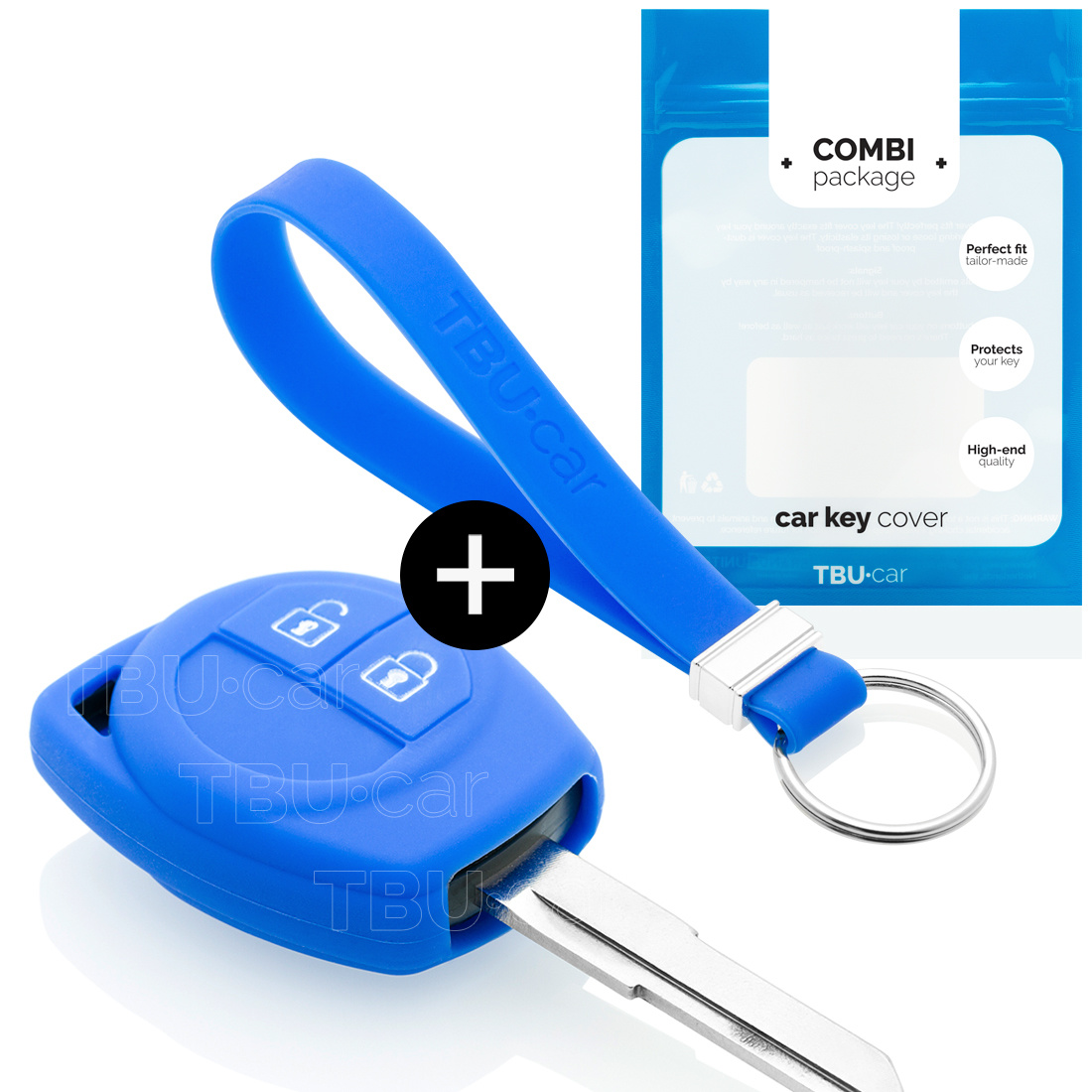 TBU car TBU car Autoschlüssel Hülle kompatibel mit Suzuki 2 Tasten - Schutzhülle aus Silikon - Auto Schlüsselhülle Cover in Blau