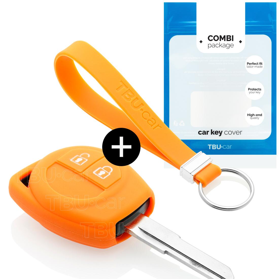 TBU car Autoschlüssel Hülle für Suzuki 2 Tasten - Schutzhülle aus Silikon - Auto Schlüsselhülle Cover in Orange