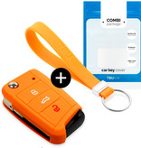 Volkswagen Car key cover - Silicone Protective Remote Key Shell - FOB Case Cover - Orange
