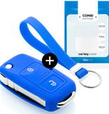 Volkswagen Car key cover - Silicone Protective Remote Key Shell - FOB Case Cover - Blue