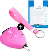 TBU car TBU car Sleutel cover compatibel met Toyota - Silicone sleutelhoesje - beschermhoesje autosleutel - Roze