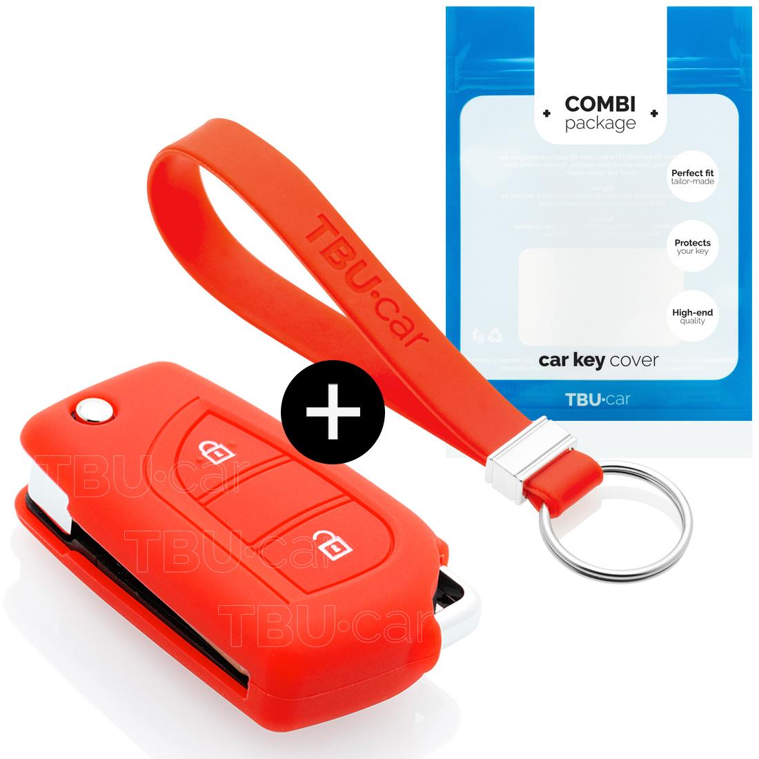TBU car TBU car Autoschlüssel Hülle kompatibel mit Toyota 2 Tasten - Schutzhülle aus Silikon - Auto Schlüsselhülle Cover in Rot