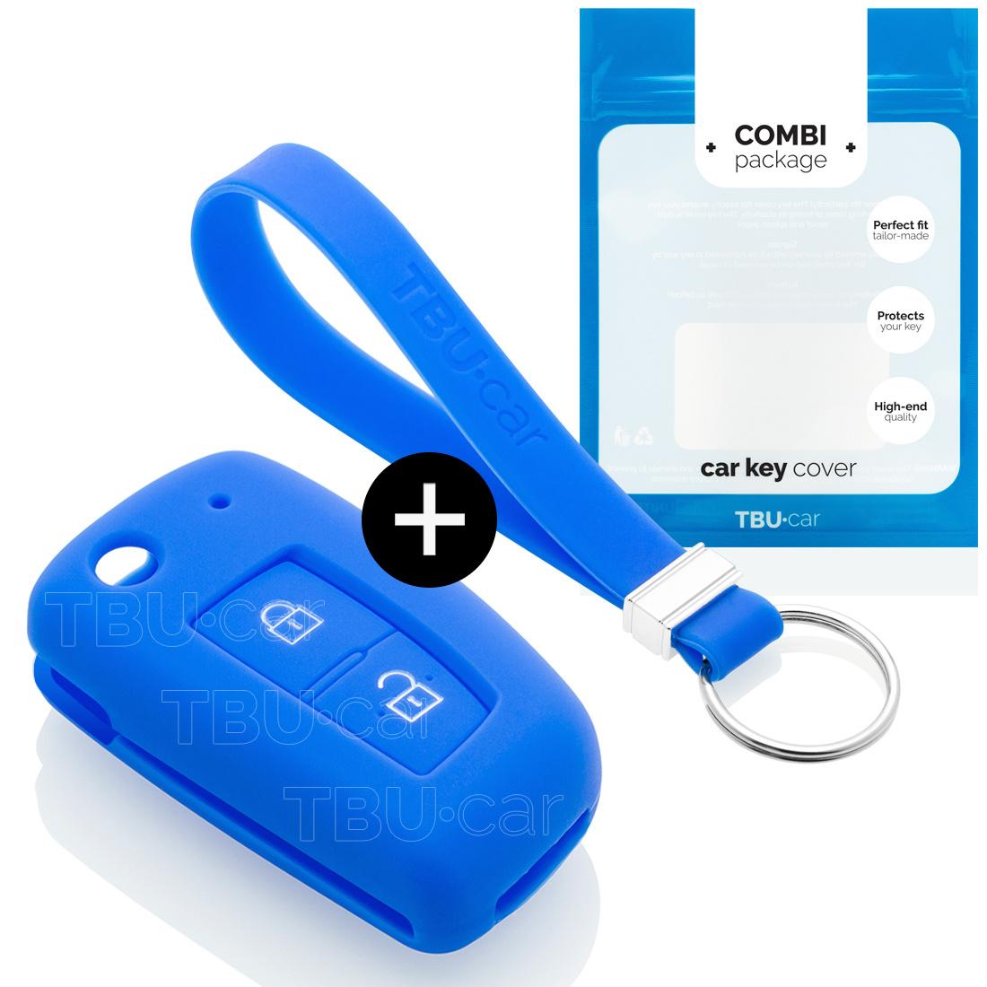 TBU car TBU car Autoschlüssel Hülle kompatibel mit Nissan 2 Tasten - Schutzhülle aus Silikon - Auto Schlüsselhülle Cover in Blau