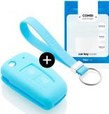 TBU car TBU car Sleutel cover compatibel met Nissan - Silicone sleutelhoesje - beschermhoesje autosleutel - Lichtblauw