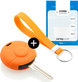 Smart Car key cover - Silicone Protective Remote Key Shell - FOB Case Cover - Orange