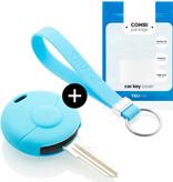 TBU car TBU car Autoschlüssel Hülle kompatibel mit Smart 1 Taste - Schutzhülle aus Silikon - Auto Schlüsselhülle Cover in Hellblau