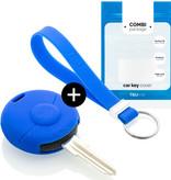 TBU car Autoschlüssel Hülle für Smart 1 Taste - Schutzhülle aus Silikon - Auto Schlüsselhülle Cover in Blau