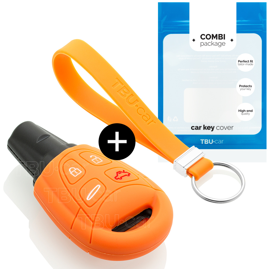Saab Car key cover - Silicone Protective Remote Key Shell - FOB Case Cover - Orange