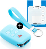 Range Rover Car key cover - Silicone Protective Remote Key Shell - FOB Case Cover - Light Blue