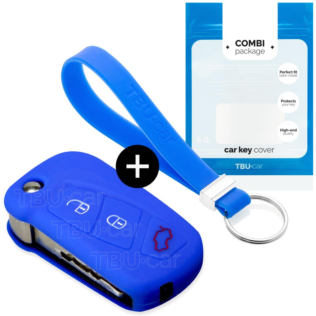 TBU car Autoschlüssel Hülle für Ford 3 Tasten (KA) - Schutzhülle aus Silikon - Auto Schlüsselhülle Cover in Blau