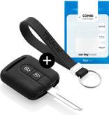 TBU car TBU car Autoschlüssel Hülle kompatibel mit Nissan 2 Tasten - Schutzhülle aus Silikon - Auto Schlüsselhülle Cover in Schwarz
