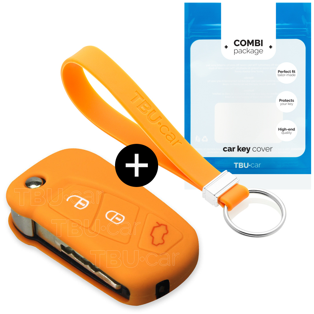 TBU car TBU car Autoschlüssel Hülle kompatibel mit Ford 3 Tasten (KA) - Schutzhülle aus Silikon - Auto Schlüsselhülle Cover in Orange