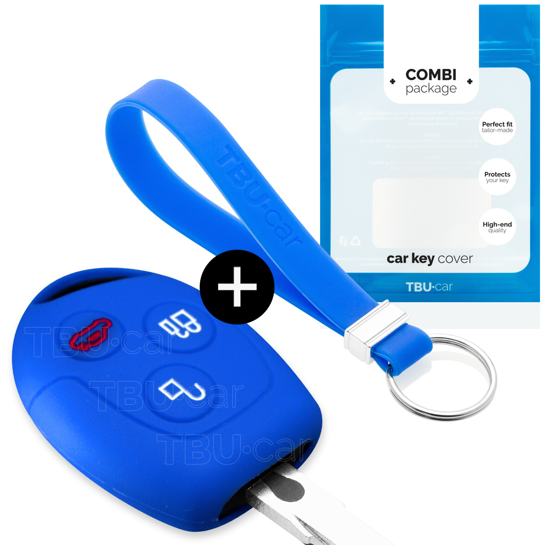 Ford Car key cover - Silicone Protective Remote Key Shell - FOB Case Cover - Blue
