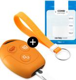 TBU car TBU car Sleutel cover compatibel met Ford - Silicone sleutelhoesje - beschermhoesje autosleutel - Oranje
