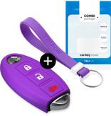 TBU car Autoschlüssel Hülle für Nissan 3 Tasten (Keyless Entry) - Schutzhülle aus Silikon - Auto Schlüsselhülle Cover in Violett
