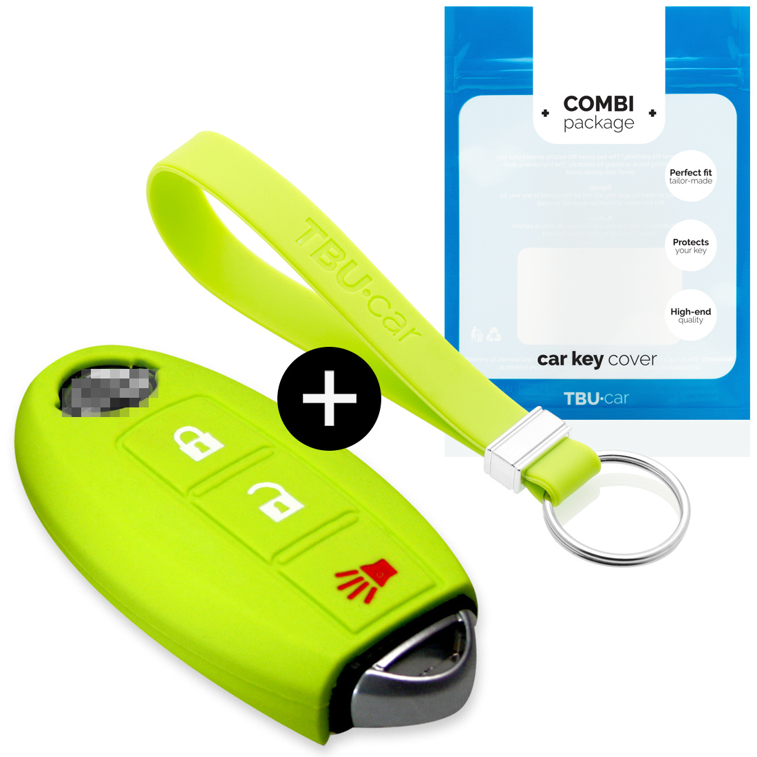 TBU car TBU car Sleutel cover compatibel met Nissan - Silicone sleutelhoesje - beschermhoesje autosleutel - Lime groen