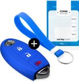 TBU car Autoschlüssel Hülle für Nissan 3 Tasten (Keyless Entry) - Schutzhülle aus Silikon - Auto Schlüsselhülle Cover in Blau