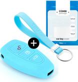 Ford Autoschlüssel Hülle - Silikon Schutzhülle - Schlüsselhülle Cover - Hellblau
