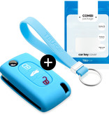 Lancia Car key cover - Silicone Protective Remote Key Shell - FOB Case Cover - Light Blue