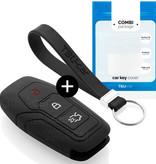 TBU car Autoschlüssel Hülle für Ford 3 Tasten (Keyless Entry) - Schutzhülle aus Silikon - Auto Schlüsselhülle Cover in Schwarz
