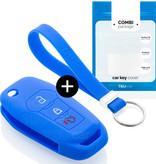 TBU car TBU car Autoschlüssel Hülle kompatibel mit Ford 3 Tasten - Schutzhülle aus Silikon - Auto Schlüsselhülle Cover in Blau