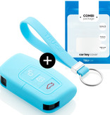TBU car Autoschlüssel Hülle für Ford 3 Tasten (Keyless Entry) - Schutzhülle aus Silikon - Auto Schlüsselhülle Cover in Hellblau