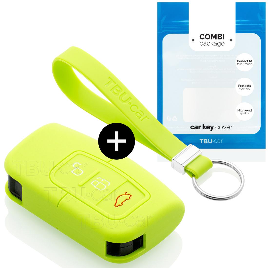 TBU car Autoschlüssel Hülle für Ford 3 Tasten (Keyless Entry) - Schutzhülle aus Silikon - Auto Schlüsselhülle Cover in Lindgrün
