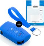 TBU car TBU car Autoschlüssel Hülle kompatibel mit Ford 3 Tasten (Keyless Entry) - Schutzhülle aus Silikon - Auto Schlüsselhülle Cover in Blau