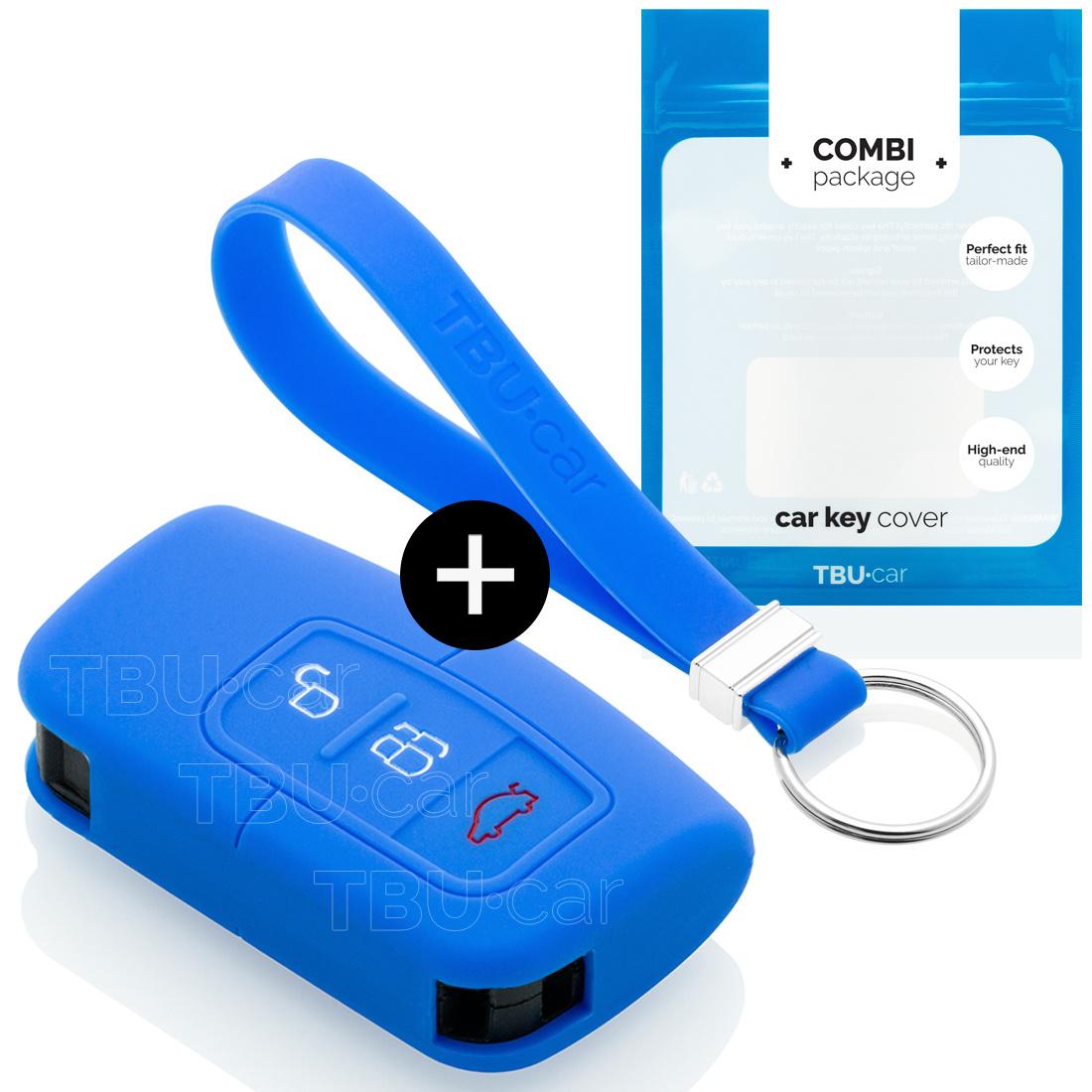 Ford Capa Silicone Chave do carro - Capa protetora - Tampa remota FOB - Azul