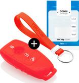 TBU car TBU car Autoschlüssel Hülle kompatibel mit Mercedes 3 Tasten (Keyless Entry) - Schutzhülle aus Silikon - Auto Schlüsselhülle Cover in Rot