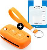 TBU car TBU car Sleutel cover compatibel met Mercedes - Silicone sleutelhoesje - beschermhoesje autosleutel - Oranje