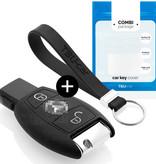TBU car Autoschlüssel Hülle für Mercedes 2 Tasten - Schutzhülle aus Silikon - Auto Schlüsselhülle Cover in Schwarz