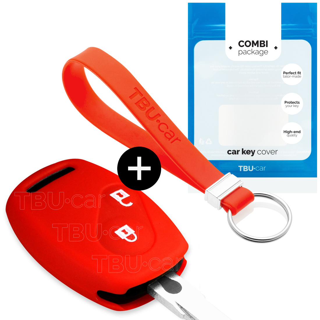Honda Car key cover - Silicone Protective Remote Key Shell - FOB Case Cover - Red
