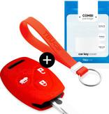 TBU car TBU car Autoschlüssel Hülle kompatibel mit Honda 3 Tasten - Schutzhülle aus Silikon - Auto Schlüsselhülle Cover in Rot