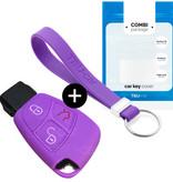 TBU car TBU car Autoschlüssel Hülle kompatibel mit Mercedes 3 Tasten - Schutzhülle aus Silikon - Auto Schlüsselhülle Cover in Violett
