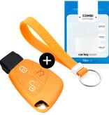 TBU car Autoschlüssel Hülle für Mercedes 3 Tasten - Schutzhülle aus Silikon - Auto Schlüsselhülle Cover in Orange