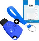 TBU car TBU car Autoschlüssel Hülle kompatibel mit Mercedes 3 Tasten - Schutzhülle aus Silikon - Auto Schlüsselhülle Cover in Blau