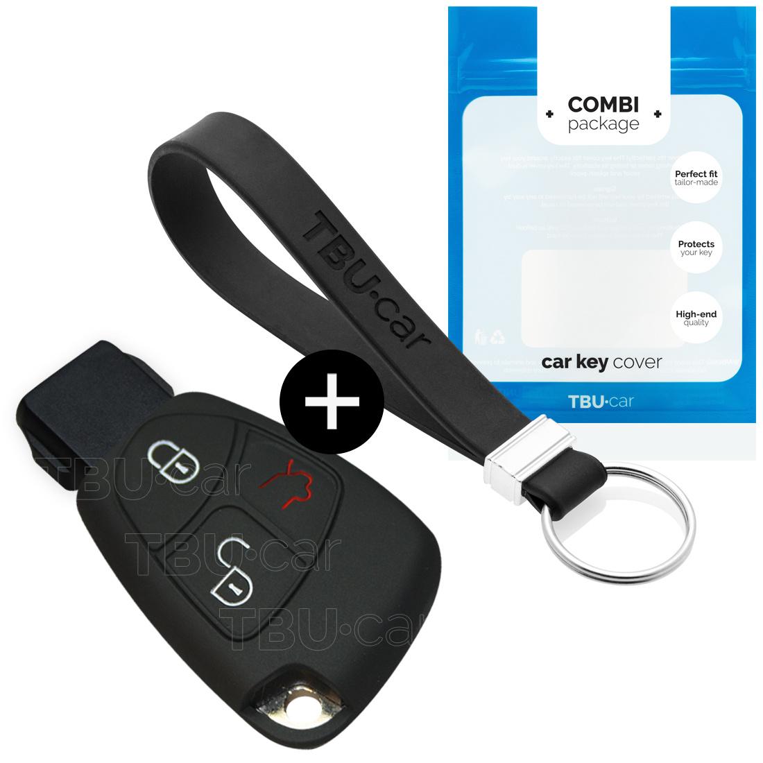 Mercedes Autoschlüssel Hülle - Silikon Schutzhülle - Schlüsselhülle Cover - Schwarz