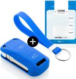Porsche Car key cover - Silicone Protective Remote Key Shell - FOB Case Cover - Blue