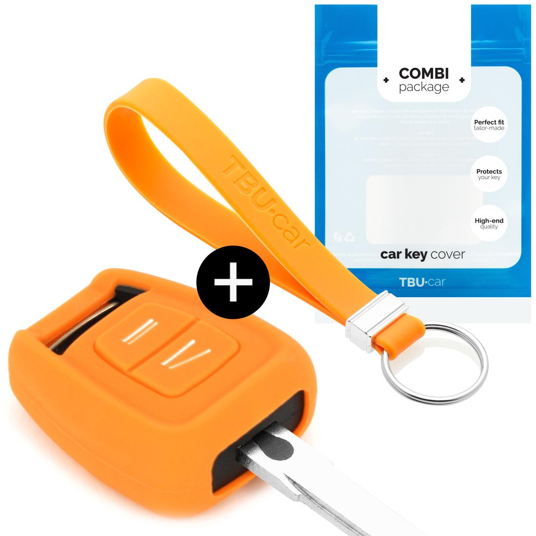 TBU car TBU car Autoschlüssel Hülle kompatibel mit Opel 2 Tasten - Schutzhülle aus Silikon - Auto Schlüsselhülle Cover in Orange