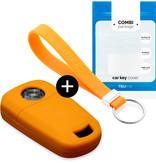 TBU car Autoschlüssel Hülle für Opel 2 Tasten - Schutzhülle aus Silikon - Auto Schlüsselhülle Cover in Orange