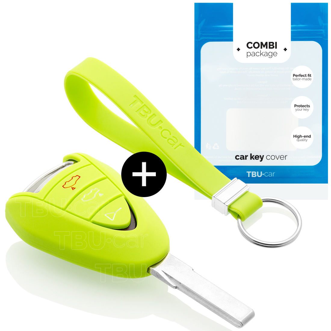 Porsche Car key cover - Silicone Protective Remote Key Shell - FOB Case Cover - Lime