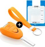 TBU car TBU car Sleutel cover compatibel met Porsche - Silicone sleutelhoesje - beschermhoesje autosleutel - Oranje