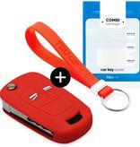 TBU car TBU car Autoschlüssel Hülle kompatibel mit Opel 2 Tasten - Schutzhülle aus Silikon - Auto Schlüsselhülle Cover in Rot