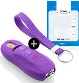 TBU car TBU car Autoschlüssel Hülle kompatibel mit Porsche 3 Tasten (Keyless Entry) - Schutzhülle aus Silikon - Auto Schlüsselhülle Cover in Violett
