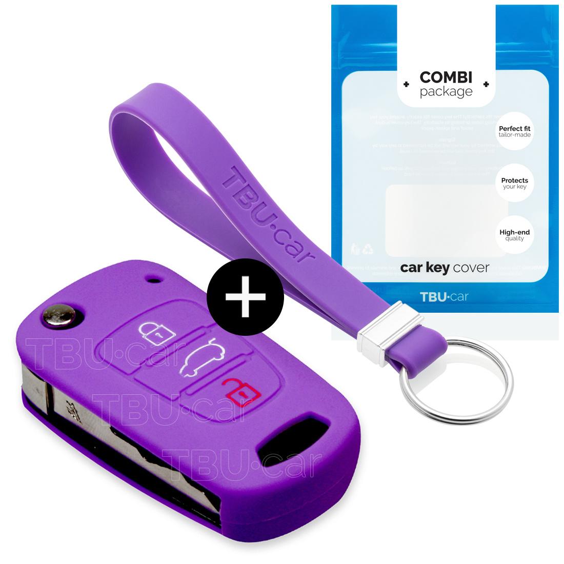 Hyundai Autoschlüssel Hülle - Silikon Schutzhülle - Schlüsselhülle Cover - Violett
